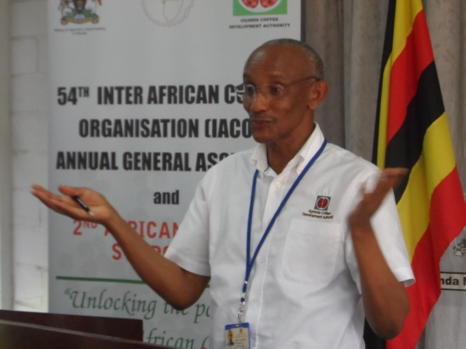 Uganda Coffee Development Authority Executive Director Henry Ngabirano addresses the Media on Friday November 14th at the Uganda Media Centre.