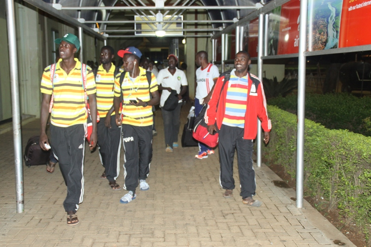 Cranes players shortly after  arriving at Entebbe International Airport on Friday aboard an Ethiopian Flight.