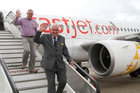 Fastjet CEO Ed Winter (front) disembarks from one of the airline's Airbus A319's.