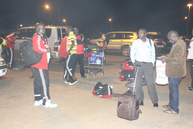 Fufa Officials shortly after arriving at Entebbe International Airport on Friday aboard Ethiopian Airlines.