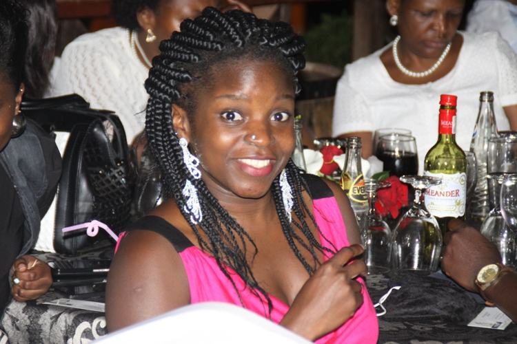 Eleanor Nansiibo in high spirits after boozing like no man's business.