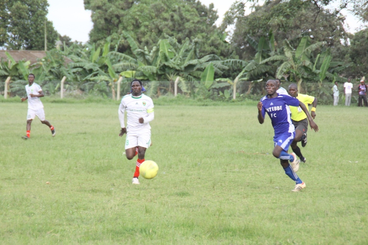 Entebbe's Richard Kalema (in blue) scored the 4th goal.