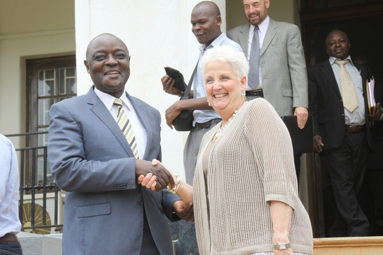 US Ambassador Deborah Malac shakes hands with Agriculture Minister Vincent Ssempijja at the Ministry Headquarters in Entebbe.