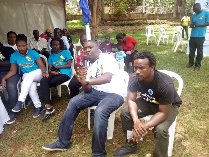Salvador Indirigi and Vince emceeing at the Down's Syndrome in Entebbe.