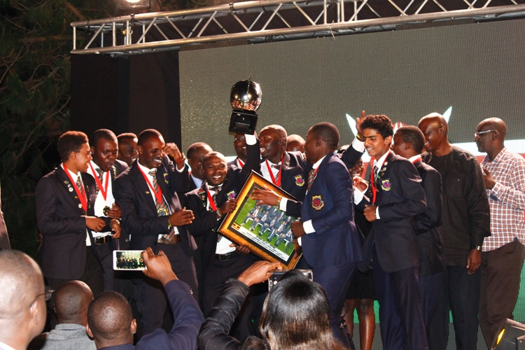 Team Kenya celebrate after they retained the Victoria Cup.