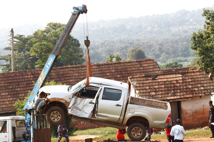 The chinese contractor's Vehicle was towed to Entebbe Police Station.