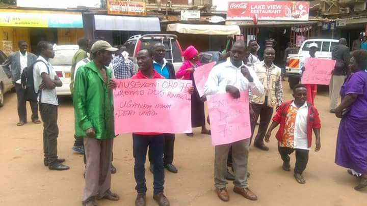 Meddie Bawonga (right) led the demos in Entebbe on Wednesday.