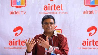 Airtel Uganda MD V.G.Somasekhar addresses guests at the launch of the Ai...