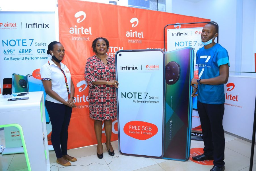 L-R Faith Bugonzi from Airtel Uganda with Remmie Kisakye (middle) Head of Brand and Communication and Derrick Katongole Branch Brand Manager Infinix Uganda