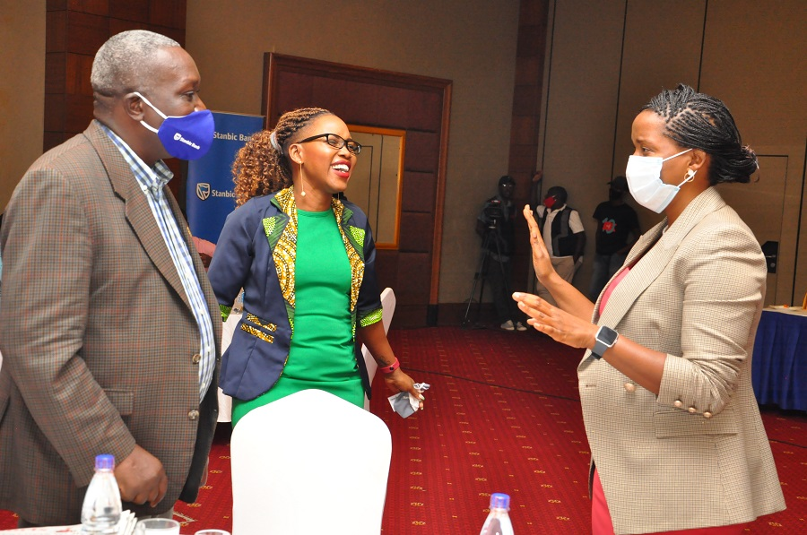Mr Mondo Kyateka, Director Youth at the Ministry of Labour, Gender and Social Development, Ms Barbara Kasekende the Stanbic Head CSI and Ms Anne Juuko the Stanbic CE at the Stanbic Education Forum