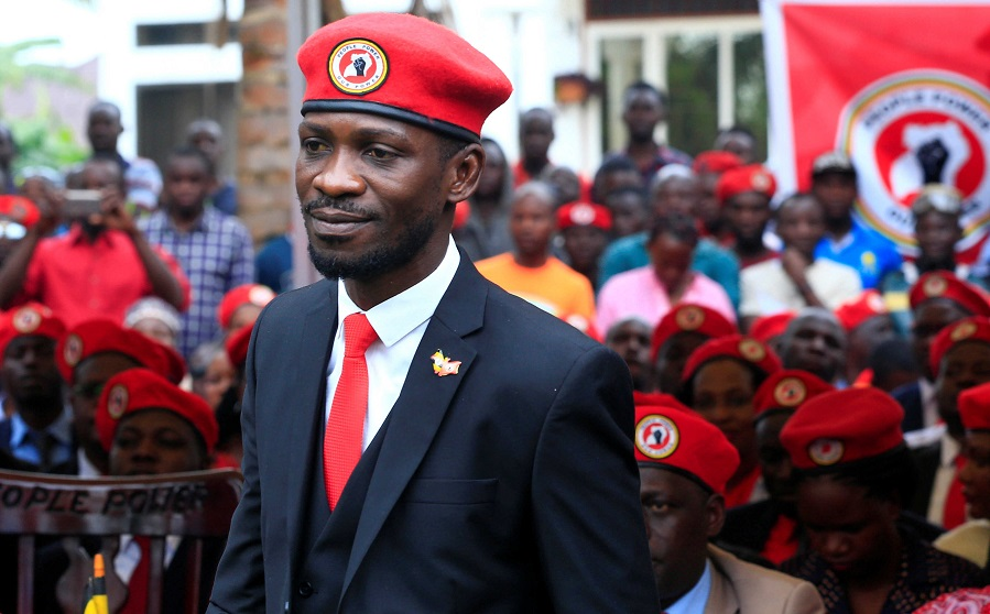 Ugandan musician turned politician, Robert Kyagulanyi also known as Bobi Wine arrives at the news conference at his home in Kasangati, Kampala (Rueters Photo)