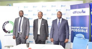 L-R - ABC (U) Ltd Chief Executive Officer, Richard Yego, Richard Byarugaba, NSSF Managing Director and Matthias Katamba, dfcu Bank Managing Director at the launch