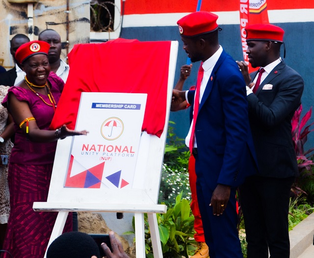 National Unity Platform President Robert Ssentamu Kyagulanyi aka Bobi Wine donning on a Red Beret